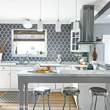 Paint the Hourglass Allover Stencil in gray and white to create a gorgeous  kitchen backsplash!