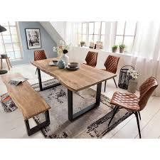 Esszimmer Tisch Bank Stühle Aus Holz Metall Kunstleder