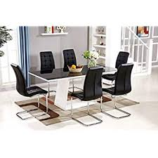furnitureboxuk murano black white high gloss gl dining table set and 6 leather chairs seater table and 6 chairs
