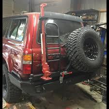 1990 1997 toyota fj80 fzj80 lx450 rear weld together per kit with dual swingout tire carrier an ladder hi lift jack mount