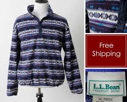 Ll Bean Size Chart Mens Vintage Ll Bean Fleece Pullover Sweater Stripe 80s Mens Extra Large Xl Made In Usa
