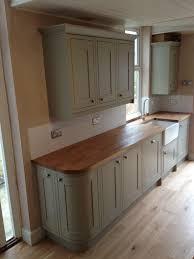 Kitchen Sage Green Kitchen Benchmarx Range With Treated Oak Work