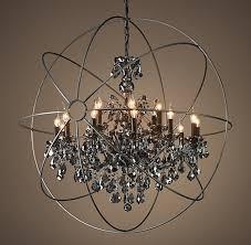 impressive orb chandelier with crystals restoration hardware for stylish house smoke crystal chandelier designs