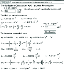 live calculation of the ionization constant of water as a function of temperature and