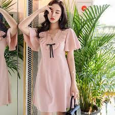 <b>Dabuwawa New Summer Pink</b> Elegant V neck Ruffles Dresses ...