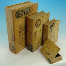 wooden book box vine postal small