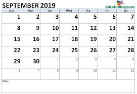 Calendar Doc September 2019 Calendar Word Doc Free 2019 Printable