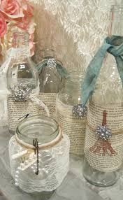 glass jar decor vintage shabby chic table set of 5 jars decorations