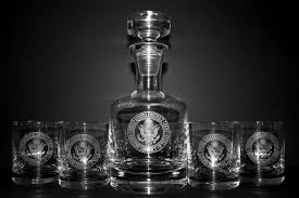buckingham decanter set w engraved logo