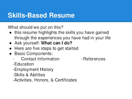 Skills I Can Put On A Resume Resume Skill Building Workshop