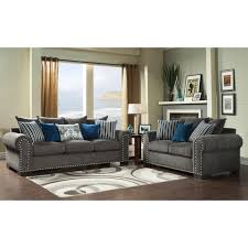 Living Room Furniture Winnipeg Furniture Of America Ivy Grey Blue Modern 2 Piece Sofa Love Set By