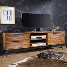 FineBuy Lowboard Sheesham Massiv Holz Hifi Board Fernsehschrank Wohnzimmer