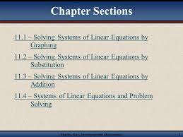 chapter sections 11 1 solving systems of linear equations by graphing 11 2 solving systems