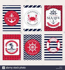 Flyers Theme Set Of Nautical And Marine Banners And Flyers Elegant Card