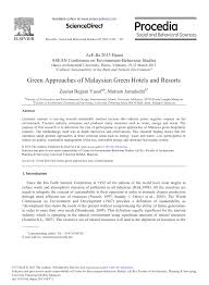 Green Approaches Of Malaysian Green Hotels And Resorts Pdf