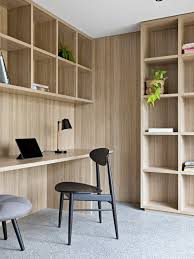 home office modern. Inspiration For A Mid-sized Modern Study Room In Melbourne With Concrete Floors, Home Office