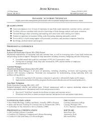 Car Body Repair Sample Resume
