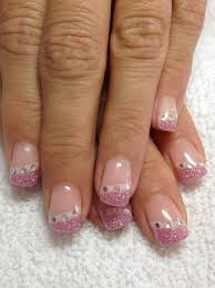 French Nail Art Designs 2014 Gel Nails Pink Glitter Tips With Rhinestones Nail
