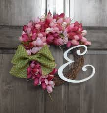 front door decor summer4500 Spring Wreath  Pink Tulip Wreath Monogram Wreath  Summer
