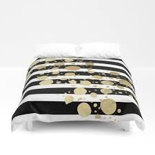 faux gold paint splatter on black white stripes duvet cover