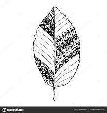 monochrome doodle hornbeam leaf coloring book antistress stock vector ilration vetores de stock
