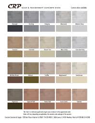 Concrete Stain Chart Concrete Solutions And Supply Crp Color Charts