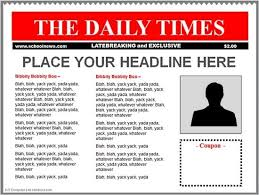 Newspaper Front Template Frontpage Newspaper Template Templates Clipart Newspaper