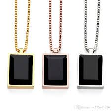 whole simple luxury men charm black square gem small pendant necklaces crystal rhinestone design fashion jewelry mens gifts necklace charms charms for