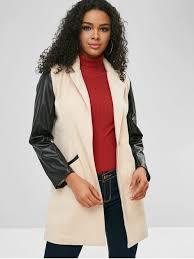 contrasting faux leather sleeve faux wool coat champagne m