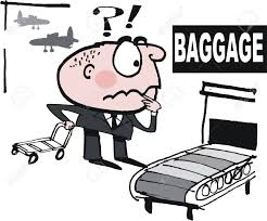 Vector Cartoon Of Upset Business Man Searching For Lost Luggage