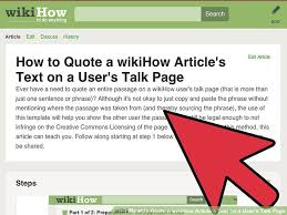 How To Quote An Article Mesmerizing How To Quote A WikiHow Article's Text On A User's Talk Page