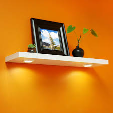 Welland 48 Floating Wall Shelf With Led Lights White Welland White Floating Shelf With Touch Sensing Battery Powered Led Light Wall Mounted Display Shelves For Entrance Living Room Bedroom Kitchen And