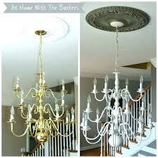 brass chandelier makeover painted black spray painting and dining room brass chandelier makeover
