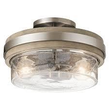 kichler 44100aub auburn stained finish grand bank 2 light 12 wide semi flush drum ceiling fixture lightingdirect com
