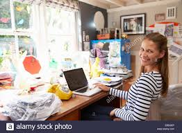 running home office. Woman On Laptop Running Business From Home Office Alamy