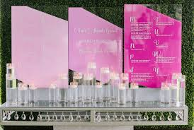 Beautiful Acrylic Seating Chart In Ombre Purples Wedding