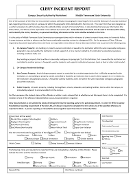 Clery Incident Report Campus Security Authority Worksheet