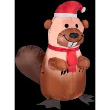 gemmy 3 5 ft h inflatable holiday beaver with santa hat and scarf