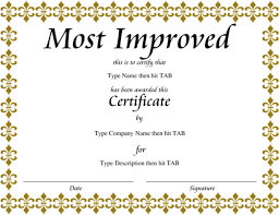 Most Improved Award Template Award Certificate Templates - Dtk Templates
