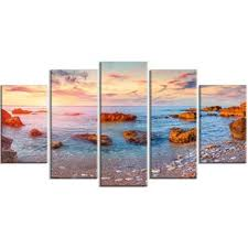 mediterranean sea sunrise 5 piece wall art on wrapped canvas set on mediterranean canvas wall art with mediterranean wall art wayfair