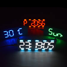 diy large 6 digit led two color digital clock kit touch control with time temperature date week display s white tomtop