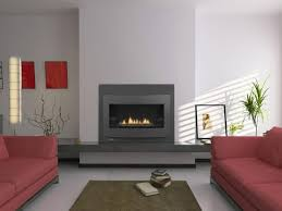 modern living room with red fabric upholstered sofa and wall mounted lennox gas fireplaces design