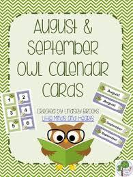 August Theme Calendar August September Owl Calendar Cards And Headers Back To School Theme