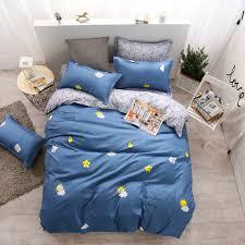 modern style dark blue yellow flower pattern polyester housewares bedding set 4 pcs duvet cover