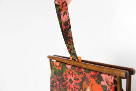 vintage knitting basket fold up rack ornate fl fabric basket with wood frame and carrying handle