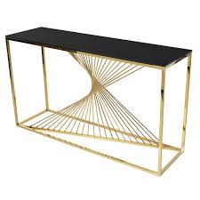 Contortion Gold Black Console Table Shropshire Design