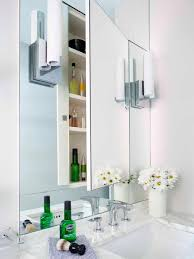 Recessed Bathroom Medicine Cabinets Recessed Medicine Cabinet Installed With Wall Tube Sconces And
