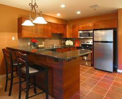 Marvelous Cheap Countertop Options On Wooden Cabinets Plus Kitchen Island With Bar  Chairs And Tile Floors And