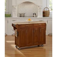 home styles create a cart warm oak kitchen cart with natural wood top