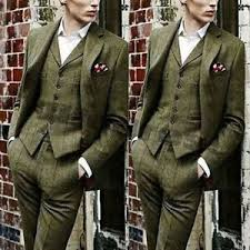 Details About Olive Green Mens Suit Windowpane Wool Tweed Check Formal Business Groom Suits